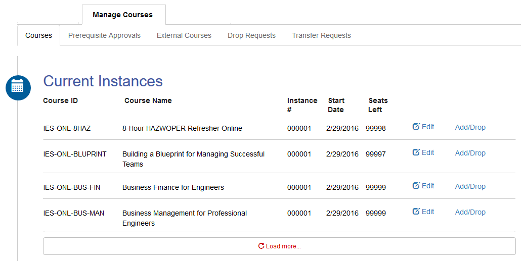 Course Admin Landing Page
